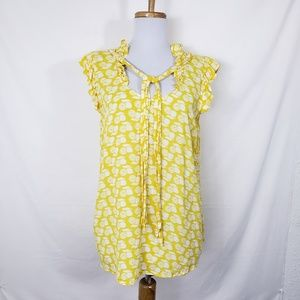 Porridge Shelby Lemon Wedge Ruffled Top Sz 8